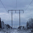 Pole in line for 220 kV, winter